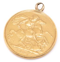 Sale 9149 - Lot 378 - A 1907 SOVEREIGN; with pendant bale attached, wt. 7.96g.