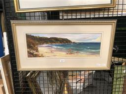 Sale 9147 - Lot 2072 - Betty Mee Mollymook Beach, North End, oil, frame: 30 x 55 cm, signed lower right