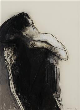 Sale 9221JM - Lot 5029 - MARGARET WOODWARD (1938 - ) Young Girl Dressing, 1994 pastel, pen gouache and watercolour 74 x 54.5 cm (frame: 104 x 84 x 3 cm) sign...
