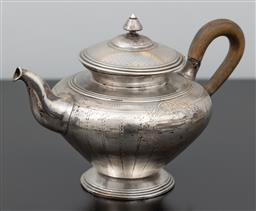 Sale 9256H - Lot 26 - A French silver Debain & Flamant tea pot, with export mark to base, L 22cm, total Wt.354.5g.