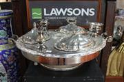 Sale 8327 - Lot 91 - Silver Plated Rotating Bain Marie Missing Centre Piece