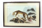 Sale 8594D - Lot 11 - Boxed Framed Tiger Feather Work ( 62cm x 42cm)