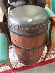 Sale 8601 - Lot 1268 - Tall Timber Drum Stool with Leather Seat