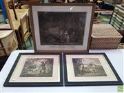 Sale 8619 - Lot 2076 - George Morland (1763 - 1804) (3 works) Pheasant Shooting; Partridge Shooting; Higlers Preparing for Market, mezzotints, 50.5 x 58....