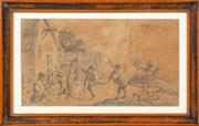 Sale 8653A - Lot 9 - A pair of early Dutch etchings; depicting villages, details verso, each 14 x 34.5cm