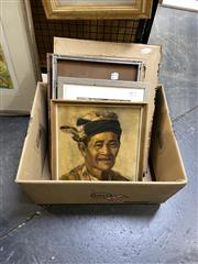 Sale 8888 - Lot 2038 - Group of (5) Assorted Balinese Paintings incl. Portrait of an Elder