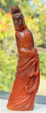 Sale 8976H - Lot 23 - A Chinese carved horn figure of Guanyin, height 23cm