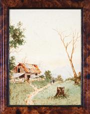 Sale 9028 - Lot 2032 - Jules Pierre (Jan) De Leener (1873 - 1944) - Figures by the Barn 26.5 x 20 cm (frame: 32 x 26 x 1 cm)