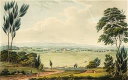 Sale 9096 - Lot 540 - Joseph Lycett (c1775 - 1828) View of Windsor Upon the River Hawkesbury hand-coloured engraving 17 x 27 cm (frame: 46 x 54 x 2 cm) Pu...