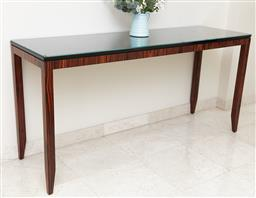 Sale 9120K - Lot 1 - A designer custom built console table with glass top and tapered ankles, Height 82cm x Width 168cm x Depth 51cm