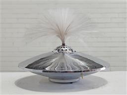 Sale 9151 - Lot 1056 - Vintage UFO form chrome optic fibre table lamp (d:50cm)