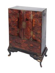 Sale 8379A - Lot 32 - A beautiful and rare late 19th Century Japanese Meiji period cabinet from Kobe. Geometrically inlaid in varied rare sample woods....