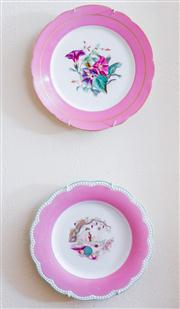 Sale 8430 - Lot 11 - A collection of Victorian and Edwardian pink porcelain bordered plates