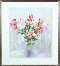Sale 8735 - Lot 83 - Margaret Coen, Still Life,  Lisianthus, watercolour, signed lower left, 57 x 50cm