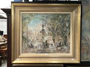 Sale 8856 - Lot 2002 - Helen Low Hyde Park  oil, 71.5 x 81.5cm (frame), signed
