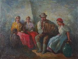 Sale 9116 - Lot 562 - J Zoltan Kiss (Hungarian School) Accordion Player & Listeners oil on canvas 58 x 77.5 cm (frame: 67 x 88 x 5 cm) signed lower left