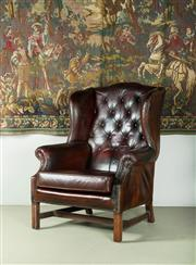 Sale 9087H - Lot 87 - A good vintage distressed leather Georgian style wing back armchair, slight scuff marks & cracking/crazing to top sides commensurate...