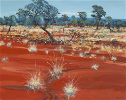 Sale 9096 - Lot 560 - Piers Bateman (1947 - 2015) Desert Landscape oil on canvas 120 x 150.5 cm (frame: 148 x 178 x 5 cm) signed lower right