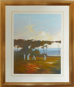Sale 9097H - Lot 11 - Australian School, Indistinctly signed. - Cricket scene 44cm x 36cm