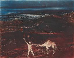 Sale 9195 - Lot 590 - SIDNEY NOLAN (1917 - 1992) - Burke & Camel 44 x 56 cm (frame: 76 x 88 x 3 cm)