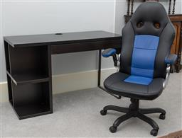 Sale 9256H - Lot 95 - An Ikea computer desk with single drawer and shelves, H 74cm x 120cm x 50cm, together with an office chair.