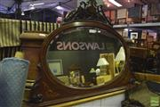 Sale 8345 - Lot 1064 - Late Victorian Inlaid & Pen Work Mahogany Overmantle Mirror, with pierced crest & bracket scrolls