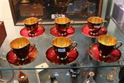 Sale 8360 - Lot 92 - Carlton Ware Set of 6 Rouge Cups & Saucers