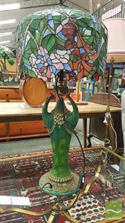 Sale 8404 - Lot 1016 - Leadlight Shade Peacock Figural Base Table Lamp