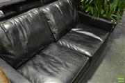 Sale 8472 - Lot 1033 - Black Leather 2 Seater Sofa with Silver Finish Studs