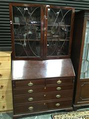Sale 8714 - Lot 1035 - Late Georgian Mahogany Bureau Bookcase, with astragal doors, above a fitted inlaid interior & five drawers (key in office)