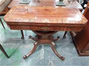 Sale 8814 - Lot 1037 - Regency Mahogany & Brass Inlaid Card Table, with lyre shaped support and quadraform base on outswept feet. Minor losses. 74 cm x 91c...