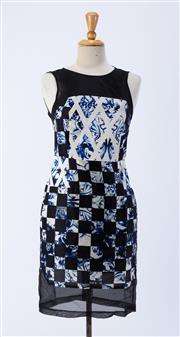 Sale 8891F - Lot 37 - A Tibi, New York printed silk sleeveless dress with contrasting sheer black trim, US 4