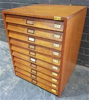 Sale 9022 - Lot 1002 - Vintage Maple Specimen Cabinet with Ten Glass Top Drawers (H:71 x W:54 x D:55cm)