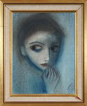 Sale 8459 - Lot 543 - Robert Dickerson (1924 - 2015) - In thought 38.5 x 29.5cm