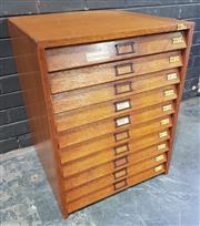 Sale 9022 - Lot 1001 - Vintage Maple Specimen Cabinet with Ten Glass Top Drawers (H:71 x W:54 x D:55cm)