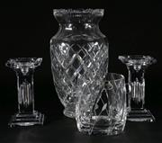 Sale 9003G - Lot 689 - A Large Cut Glass Vase (H: 35cm) Together With Ice Bucket And Two Candles sticks