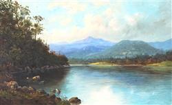Sale 9096A - Lot 5055 - Louis Frank (1830 - 1923) - On The Derwent River, Mount Wellington 34 x 56 cm (frame: 63 x 86 x 3 cm)
