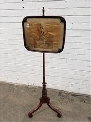 Sale 9085 - Lot 1065 - Early Victorian Mahogany Pole Screen, with a petit point panel of Scottish rifleman, on turned post with hanger legs (h:130cm)