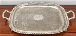 Sale 9256H - Lot 30 - A twin handled plated tray raised on four feet, W 60cm.