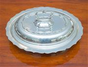 Sale 8341A - Lot 31A - A Chippendale pattern silverplate deep lidded serving dish, L 28cm