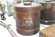 Sale 8322 - Lot 28 - Edwardian Leather Cordite Bucket or Clarkson Case Decorated with the Kings Coat of Arms