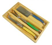 Sale 8372A - Lot 88 - Laguiole by Andre Aubrac 3-Piece Cheese Set w Multi Coloured Handles RRP $70