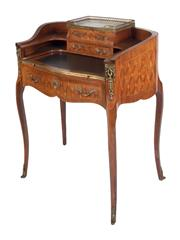 Sale 8390 - Lot 1077A - A Late 19th Century French Marquetry Ladys Bonheur du Jour, in the Louis XV transitional style. The whole standing upon elegantly t...