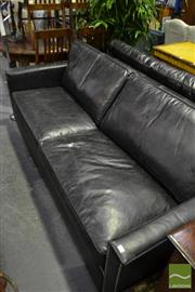 Sale 8472 - Lot 1041 - Black Leather 3 Seater Sofa with Silver Finish Stud Work