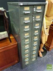 Sale 8545 - Lot 1008 - Metal Card Filer of 20 Drawers