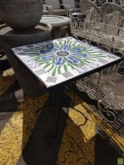 Sale 8601 - Lot 1229 - Tiled Top Floral Themed Garden Table