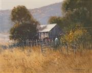 Sale 8642 - Lot 504 - Colleen M Parker (1944 - 2008) - Feeding the Cows, McDonald Valley 39.5 x 49.5cm