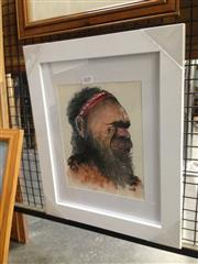 Sale 8767 - Lot 2029 - Greg Lipman, Aboriginal Elder, ink and gouache, frame size: 42 x 34.5, signed lower right