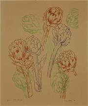 Sale 8980A - Lot 5043 - Una Foster (1912 - 1996) - Joans Artichokes, 1976 57 x 47 cm (frame: 82 x71 x 3 cm)