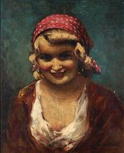 Sale 8992 - Lot 587 - Janos Szollosy (1884 - ? ) - The Polka Dot Scarf 48.5 x 39.4 cm (frame: 42.5 x 52 x 3 cm)